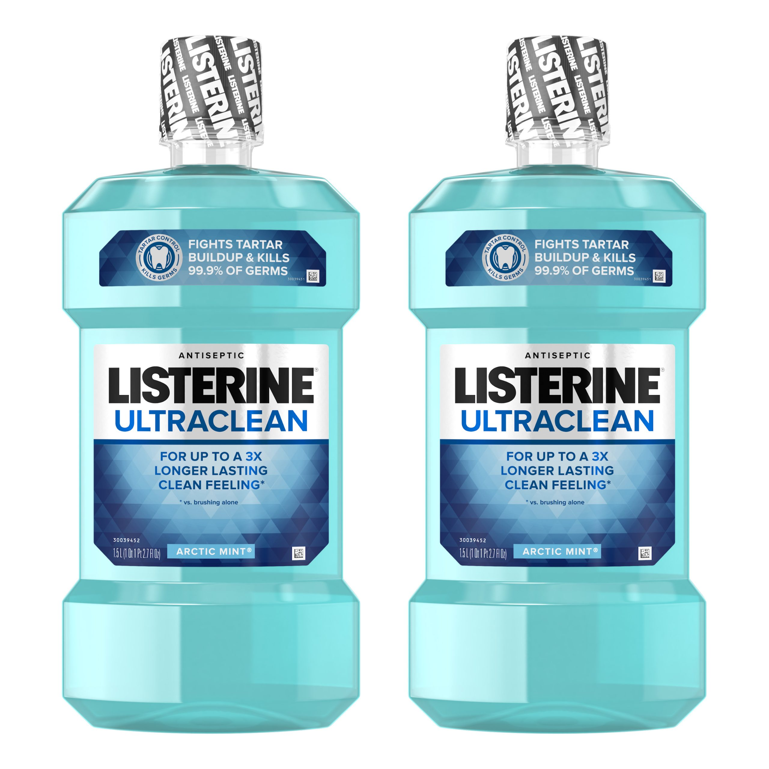 Listerine Ultraclean Oral Care Antiseptic Mouthwash with Everfresh Technology to Help Fight Bad Breath, Gingivitis, Plaque and Tartar, Arctic Mint, 1.5 l (Pack of 6)
